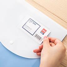 Папка на кнопці Deli 5506Е мікс В4 н/проз з білим клапаном, карм, фото 2