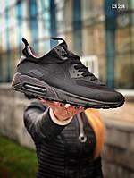 Мужские весенние кроссовки Nike Air Max 90 Ultra Mid (черные) KS 228 повседневная спортивная обувь