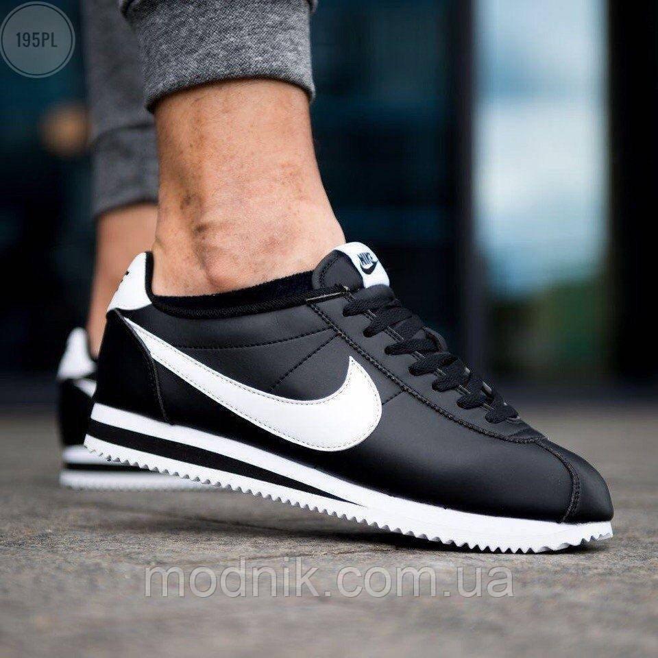 Мужские кроссовки кожаные Nike Cortez Classic Black-White 195PL оригинальные черные кроссы