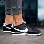 Мужские кроссовки кожаные Nike Cortez Classic Black-White 195PL оригинальные черные кроссы, фото 2