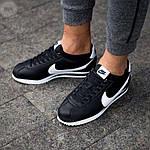 Мужские кроссовки кожаные Nike Cortez Classic Black-White 195PL оригинальные черные кроссы, фото 3