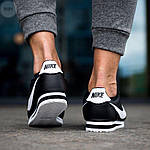Мужские кроссовки кожаные Nike Cortez Classic Black-White 195PL оригинальные черные кроссы, фото 4