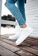Женские кожаные кроссовки Nike Air Force Low White 441GL низкие кеды найк белые
