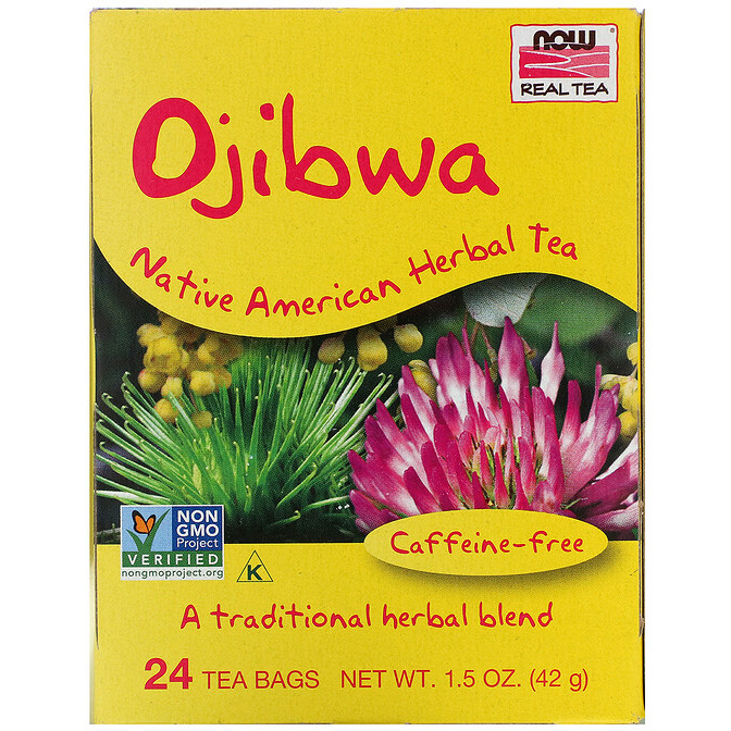"""Чай оджибве NOW Foods, Real Tea """"Ojibwa"""" без кофеїну, 24 пакетики (42 г)"""