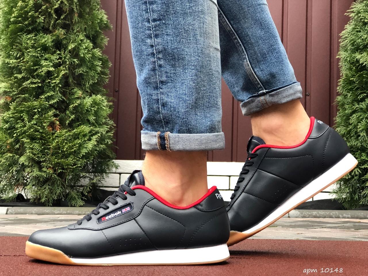 Весенние мужские кроссовки Reebok (темно-синие) 10148 спортивные модные легкие кроссы