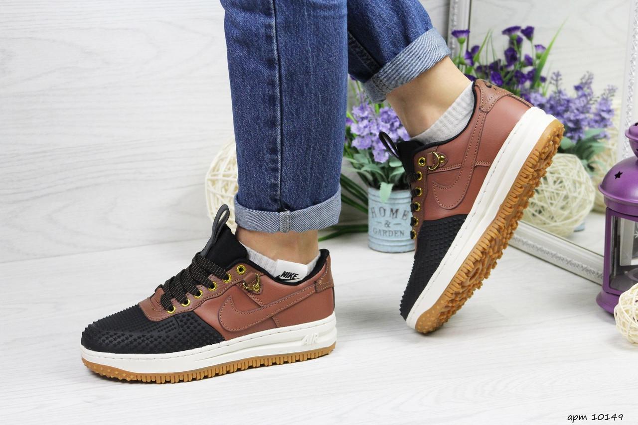 Женские низкие кроссовки Nike Lunar Force LF-1 (черно-коричневые) 10149 демисезонные модные кроссы