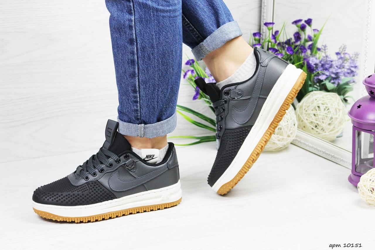 Женские низкие кроссовки Nike Lunar Force LF-1 (черно-серые) 10151 демисезонные модные кроссы