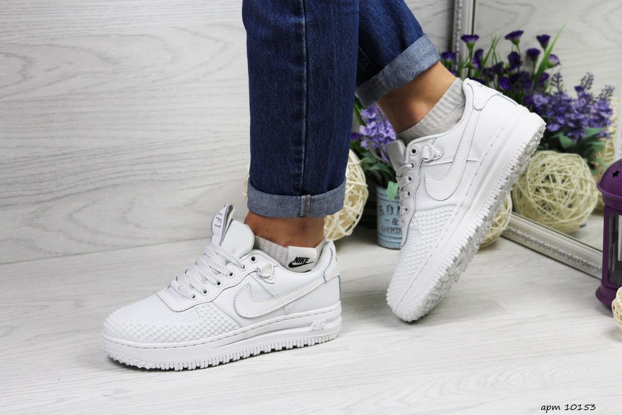 Женские низкие кроссовки Nike Lunar Force LF-1 (белые) 10153 демисезонные модные кроссы
