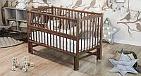 """Дитяче ліжечко Дубик-М""""Веселка"""" горіх, з відкидною боковинкою на маятнику., фото 1"""