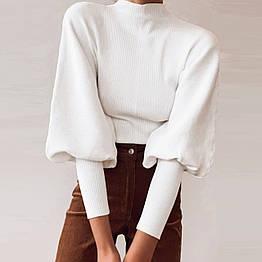 Женский свитер с объемными рукавами. Модель 62135