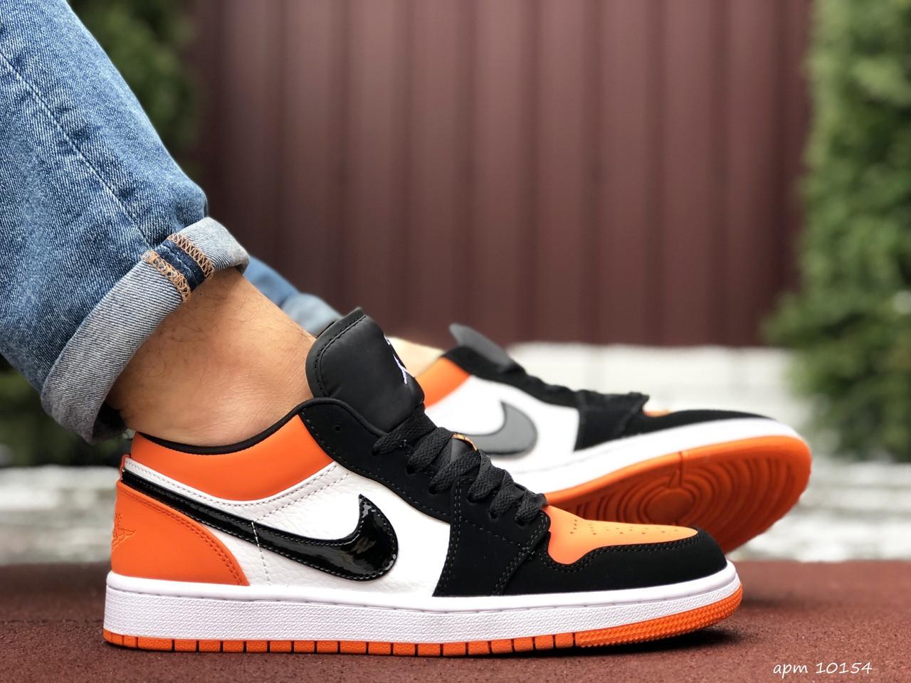 Мужские кожаные кроссовки Nike Air Jordan 1 Low (бело-оранжевые) 10154 баскетбольная обувь