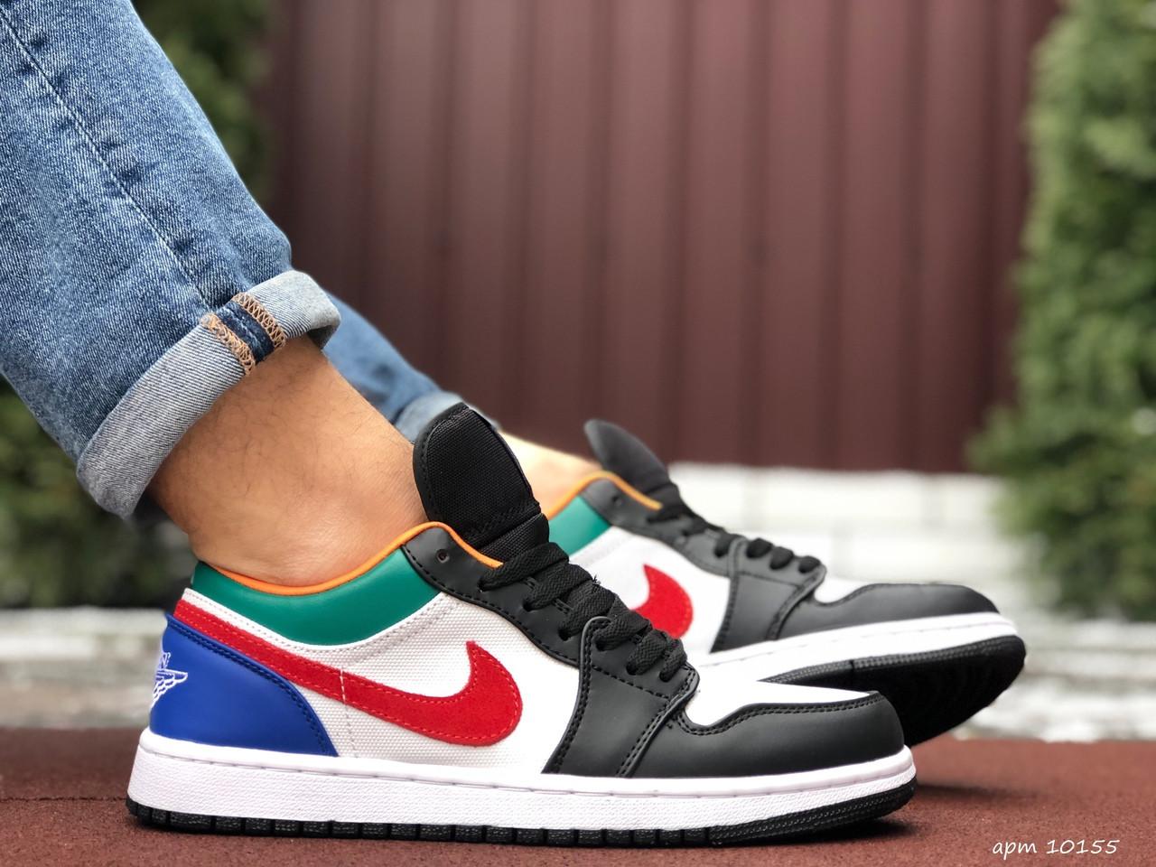 Мужские кожаные кроссовки Nike Air Jordan 1 Low (бело-черные) 10155 баскетбольная обувь
