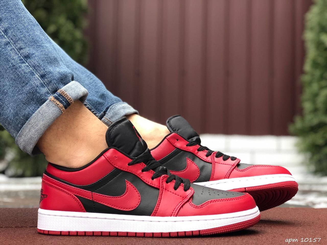 Мужские кожаные кроссовки Nike Air Jordan 1 Low (черно-красные) 10157 баскетбольная обувь