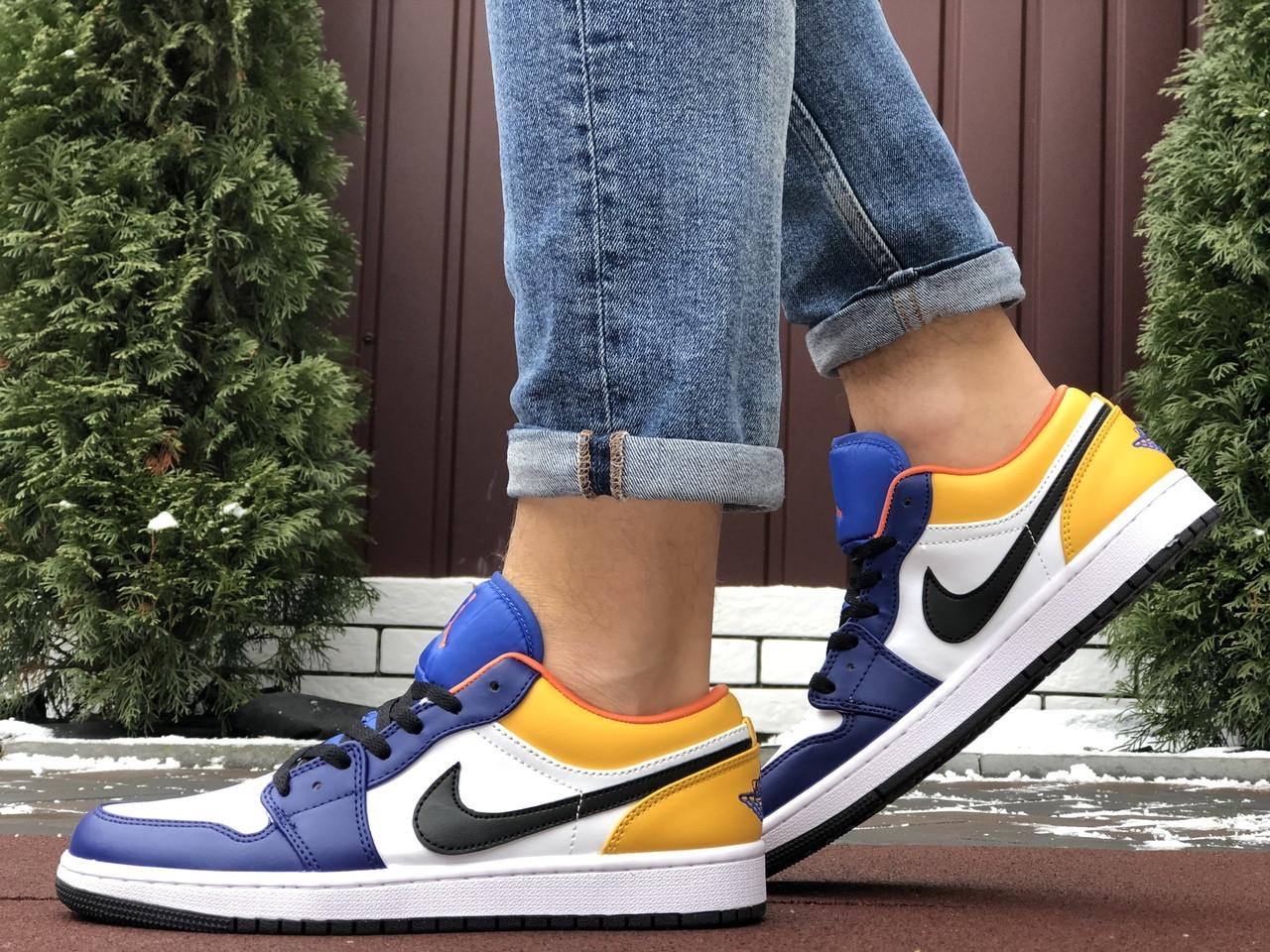Мужские кожаные кроссовки Nike Air Jordan 1 Low (бело-синие) 10158 баскетбольная обувь