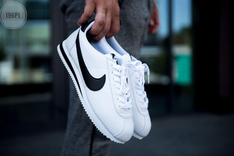 Мужские кроссовки кожаные Nike Cortez Classic White/Black 196PL оригинальные черные кроссы