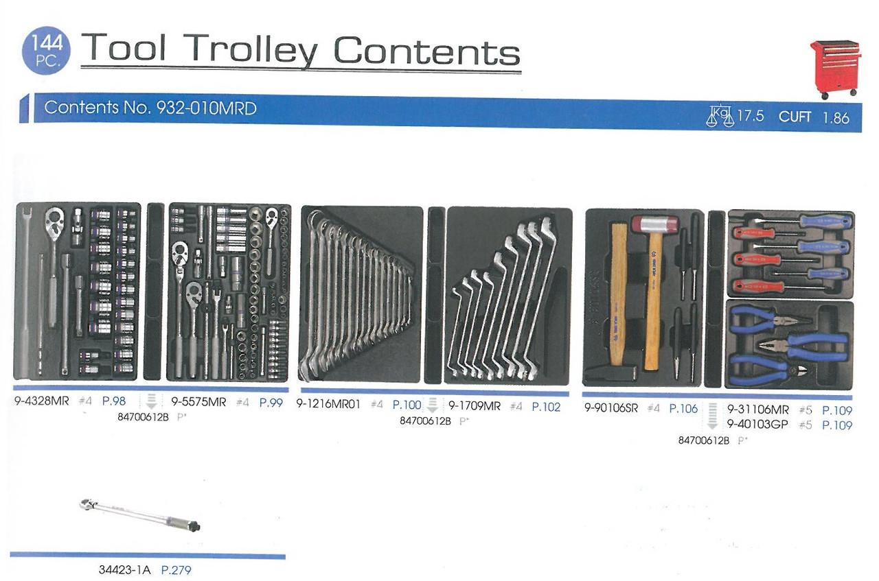 Набор  инструментов для тележки 144 пр.(Ложементы)