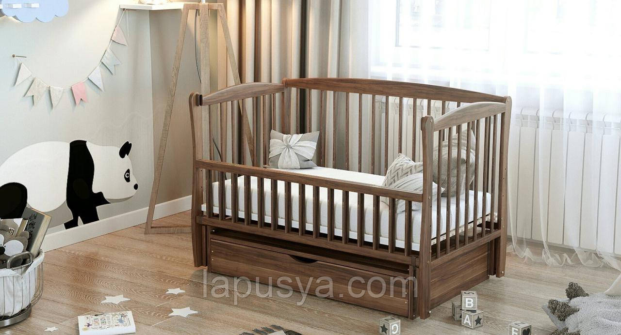 """Дитяче ліжечко Дубик-М """"Еліт """" горіх з відк.боковинкою та шухлядою."""