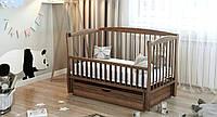 """Дитяче ліжечко Дубик-М """"Еліт """" горіх з відк.боковинкою та шухлядою., фото 1"""