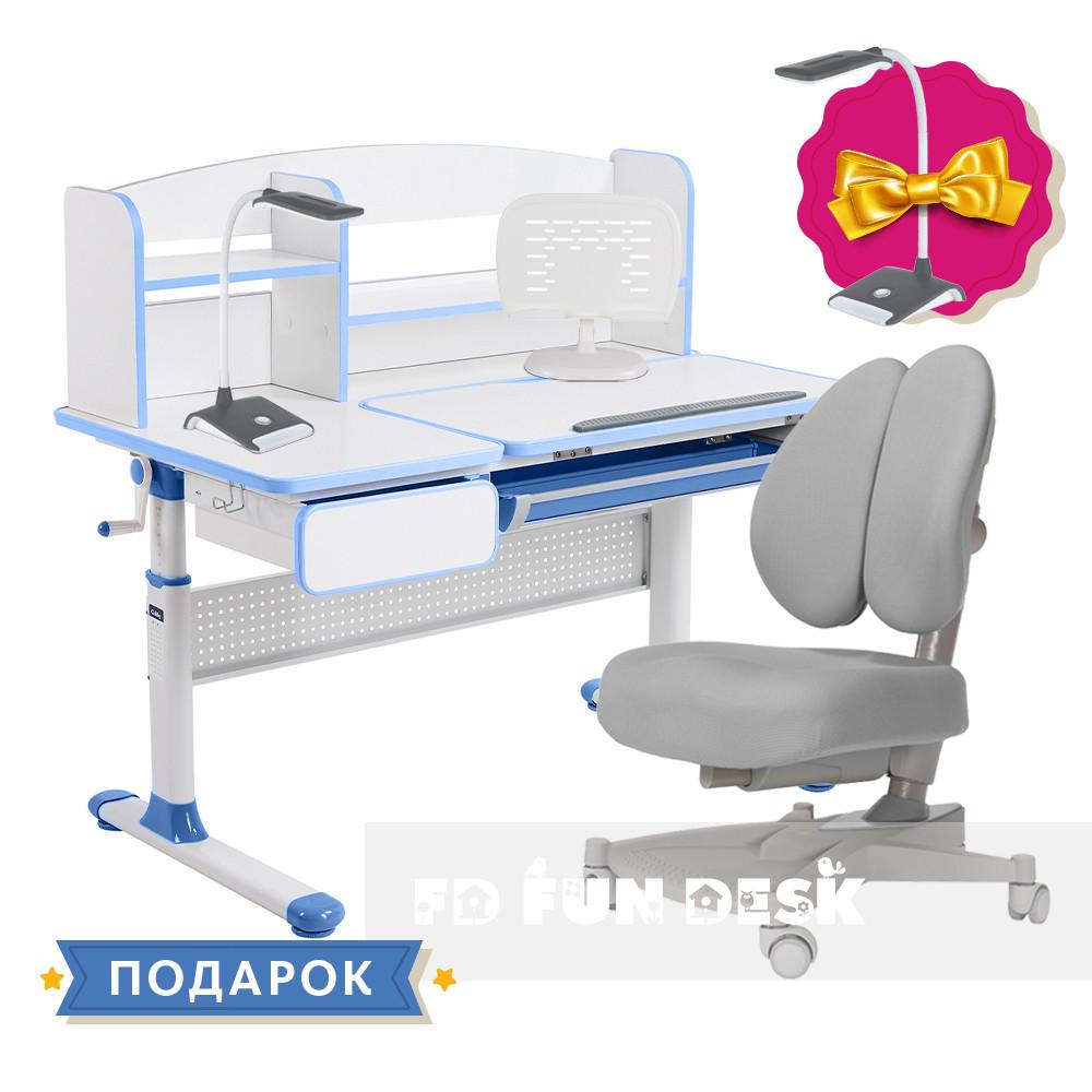 Комплект для школьника парта Cubby Rimu Blue + ортопедическое кресло для подростков FunDesk Contento Grey