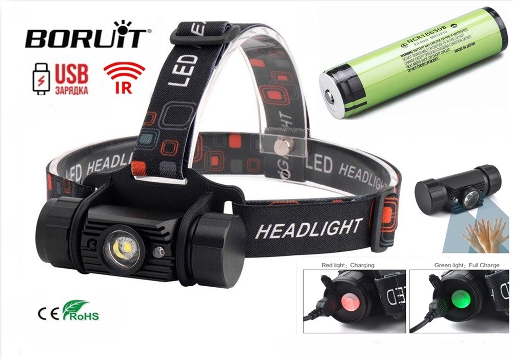 Налобный фонарь Boruit RJ-020 350LM USB+IR датчик (аналог Nitecore HC50) + Panasonic 18650 аккумулятор 3400mAh