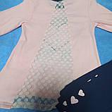 Костюм модный красивый нарядный оригинальный для девочки. В комплекте лосины синие и розовая кофта., фото 2