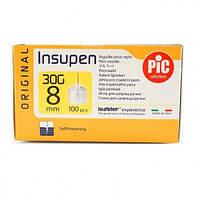 Стерильные иголки INSUPEN для инсулиновых ручек, 30G*8мм(0,30*8мм) 100шт. (8058090004547)