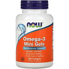 """Рыбий жир NOW Foods """"Omega-3 Mini Gels"""" поддержка сердечно-сосудистой системы (180 гелевых мини-капсул)"""