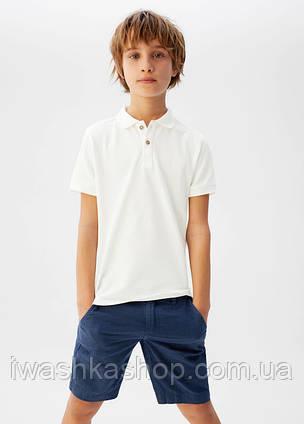 Белая футболка - поло, тенниска на мальчика 7 лет, р. 122, Mango