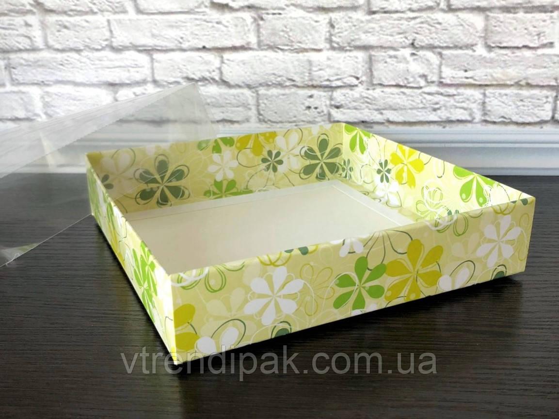 """Коробка для пряника 160*160*35 """"Весна"""" з прозорою кришкою ПВХ"""