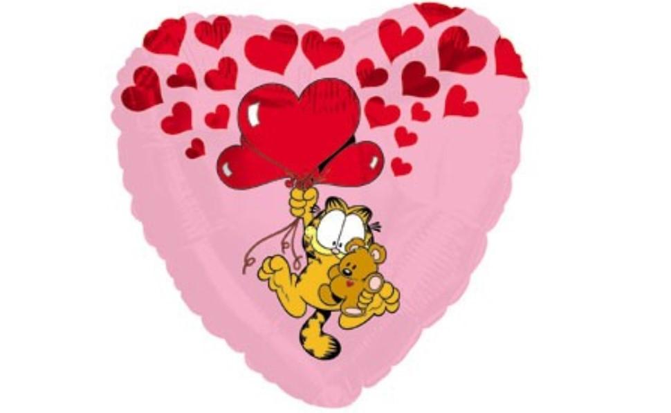 "CTI 17"" Garfield Pooky Floating Up With Hearts Pac. Фольгированный шар сердце Гарфилд. В уп"