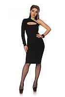 Черное платье миди с вырезом на груди., фото 1
