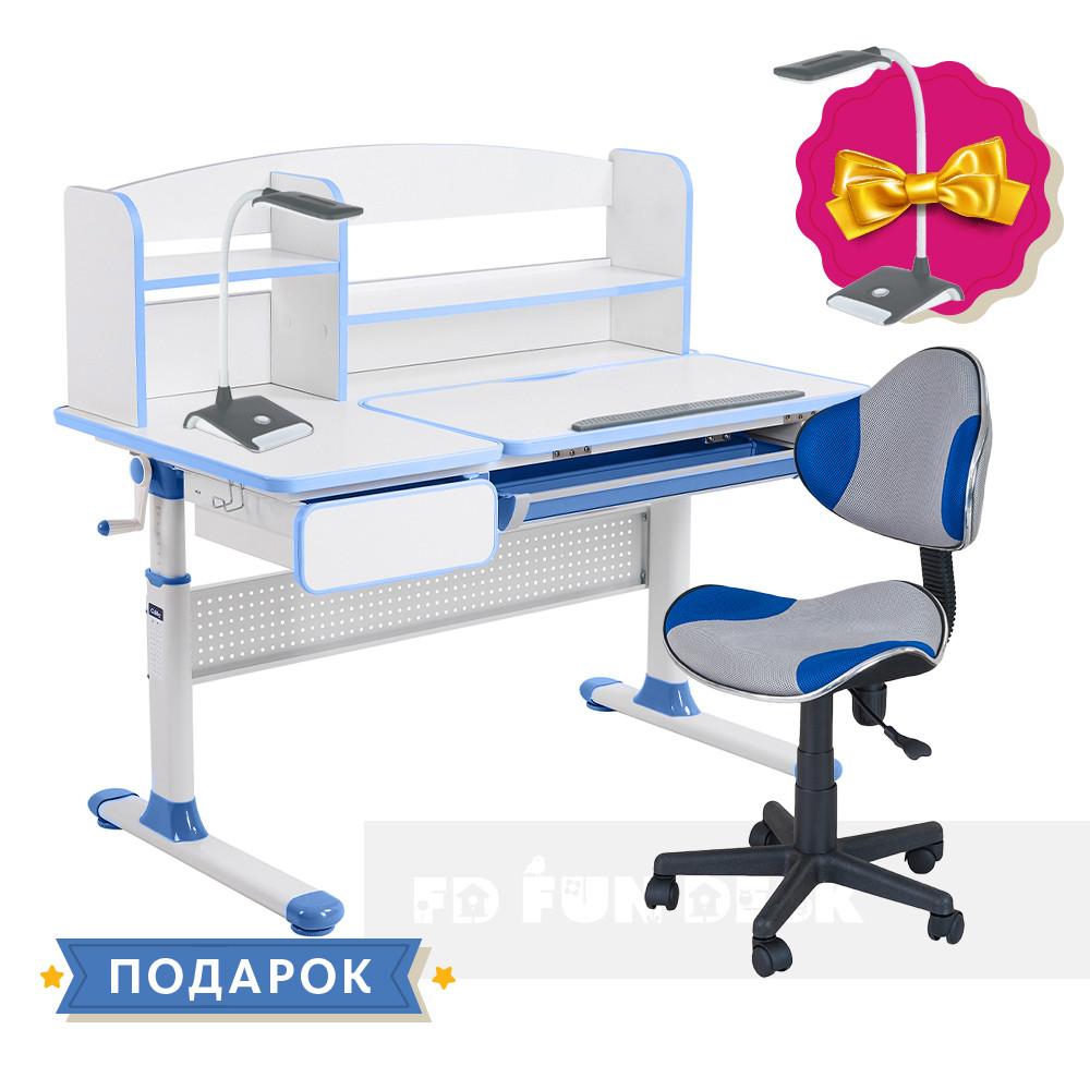 Комплект парта для школьников Cubby Rimu Blue + детский стул FunDesk LST3 Blue-Grey