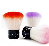 Кисть -щетка для удаления пыли с ногтевой пластины(красная, розовая,сиреневая)