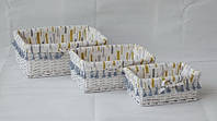 Корзина плетеная Graphics белая 39х29х15 см