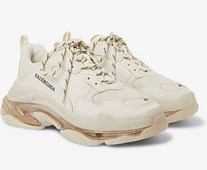 Мужские кроссовки Balenciaga Triple S clear sole Beige