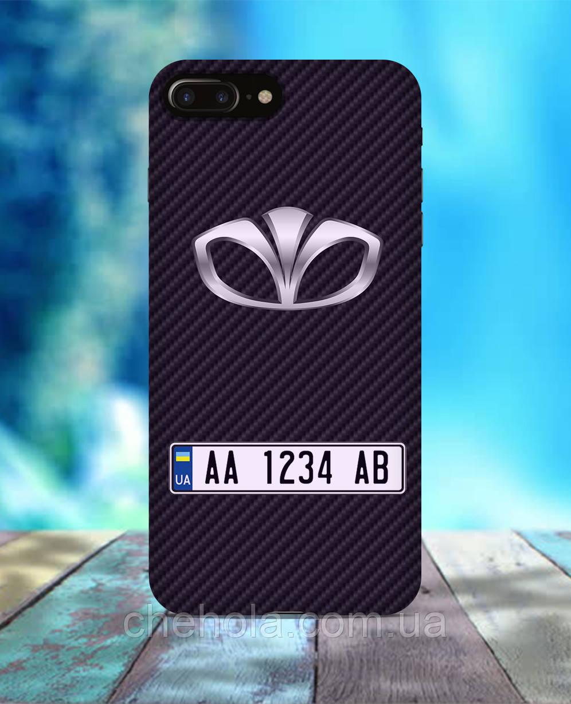 Чехол для iPhone 7 8 7 Plus 8 Plus карбон Чехол с номером авто  daewoo