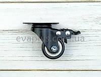 Поворотное колесо 40 мм в металлическом корпусе с тормозом на площадке, фото 1