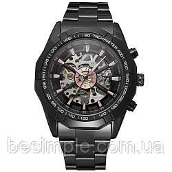 Чоловічий Наручний Годинник Winner Skeleton / Механічний годинник Чорний