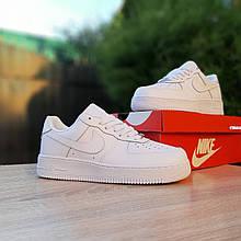Женские кожаные кроссовки Nike Air Force 20170 низкие кеды найк белые