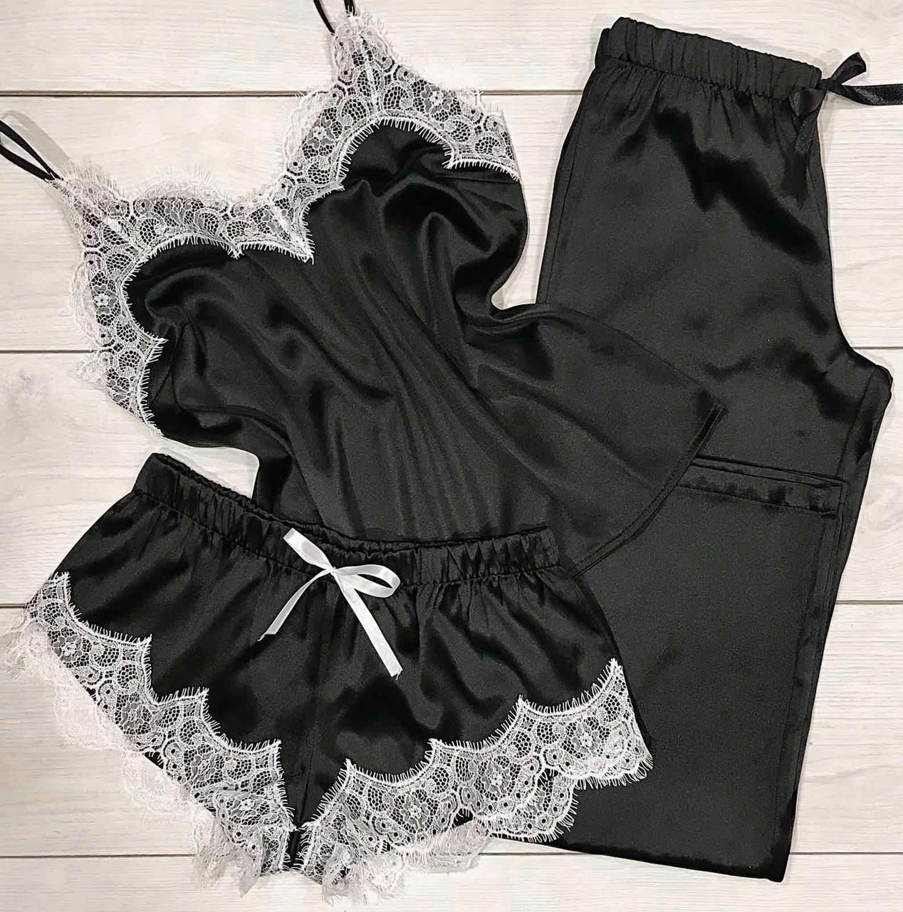 Красивая пижама с кружевом, комплект майка+ шорты+ штаны