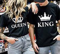 Парные футболки. Мужская и женская футболка. Queen - King . Футболки на заказ