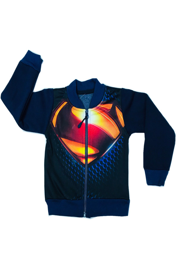 Теплый бомбер Супермен для мальчика трёхнитка с начёсом 2-8 лет