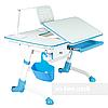 Комплект подростковый👫 парта Amare Blue с выдвижным ящиком + эргономичное кресло FunDesk Solerte Blue, фото 3