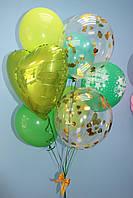 Букетик из зеленых шариков с золотом