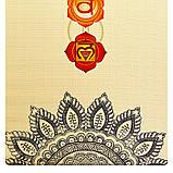 Коврик для йоги Джутовый (Yoga mat) двухслойный 3мм Record FI-7157-1, каучук, бежевый, с принтом Мандала Чакры, фото 6