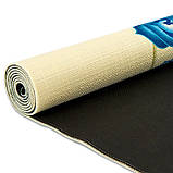 Коврик для йоги Джутовый (Yoga mat) двухслойный 3мм Record FI-7157-1, каучук, бежевый, с принтом Мандала Чакры, фото 3