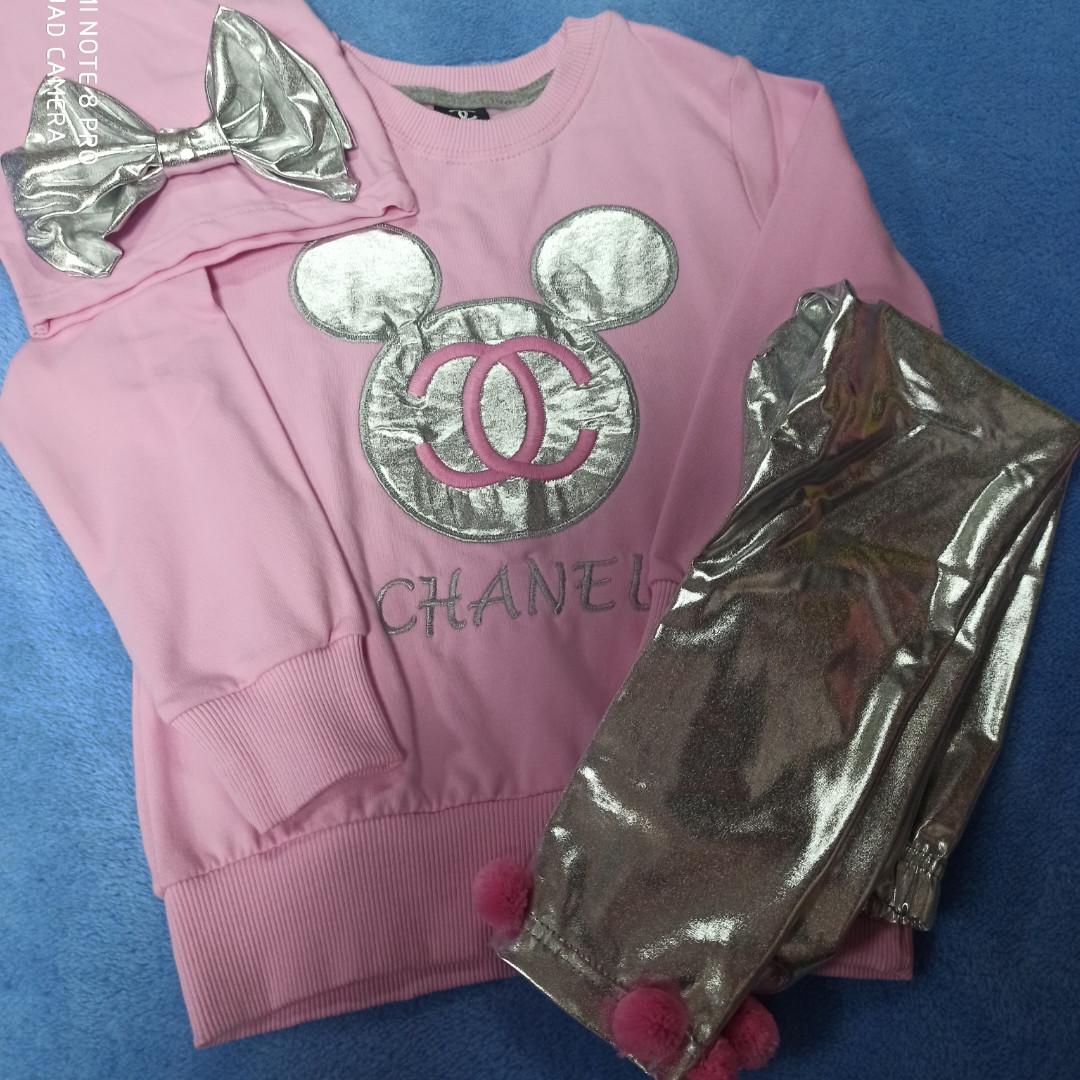 Костюм модный красивый нарядный оригинальный для девочки. В комплекте лосины серебристого цвета кофта и шапка