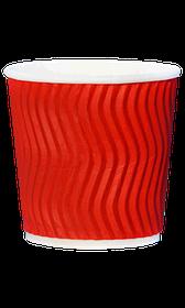 Стакан гофрований RIPPLE RED 110 мл. 25 шт.