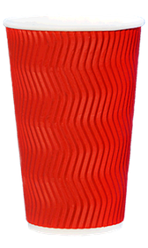 Стакан гофрований RIPPLE RED 500 мл. 25 шт.