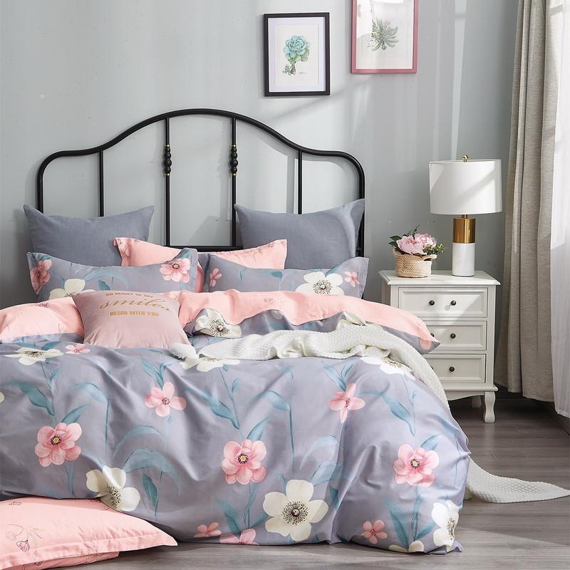 Комплект постільної білизни сімейний Bella Villa сатин сіро-рожевий